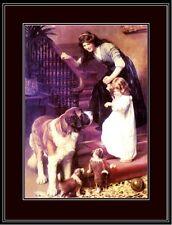 English Picture Print St. Saint Bernard Dog Dogs Puppy Girl Vintage Poster Art