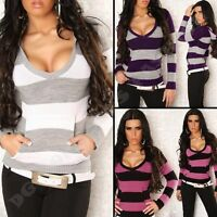 New Sexy Ladies Womens V-Neck Striped Jumper Sweater Hood Top S/M/L size 8/10/12