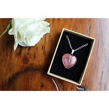 Rose Quartz Heart Pendant Necklace Healing Gemstone Chakras Stone Jewellery