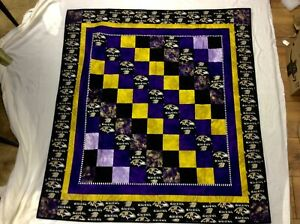 """Beautiful NFL Baltimore Ravens Football Lap or Wall Hanging QUILT 48"""" x 44"""""""