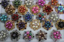 Wholesale lots 10pcs rhinestone&alloy&imitate pearl multi-color huge rings L287