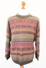 L - Vintage 80's Black Red Fairisle Jumper Pullover Grunge Retro Sweater - C497