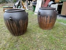 Large Black Clay Stoneware Pot With Frogs