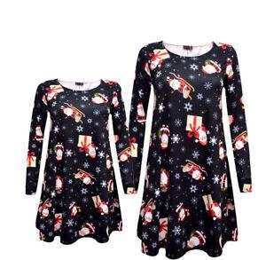 LADIES WOMEN CHRISTMAS MOTHER SANTA SLEIGH GIFTS MATCHING XMAS SWING DRESSES
