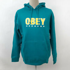 Obey Men's Hoodie Sweatshirt Obey Records 2 Teal Blue Size L NWT Shepard Fairey