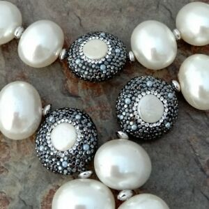 29'' Sea Shell Pearl Pearl CoinCZ Pave Connector Necklace