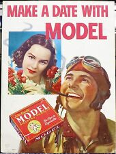 Original Model Smoking Tobacco Cardboard Poster, 1940's: Make a Date with Model