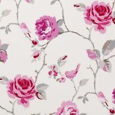 Clarke y Clarke Agatha Raspberry Floral Diseño Cortina tapicería Tela Artesanal