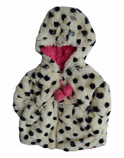 American Widgeon Pom Pom Zipper Polka Dot Faux Fur Baby Winter Coat - 18M or 12M