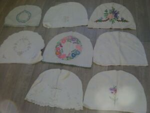 8 x VINTAGE HAND EMBROIDERED TEA COSY COVERS, 37cm wide x 26cm tall approx
