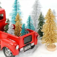 Christmas Red Metal Truck with Wheel Mini Sisal Xmas Trees Kids Gift Table Decor