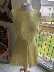 VINTAGE 60'S YELLOW MINI MOD DRESS UK 8/10 SMALL