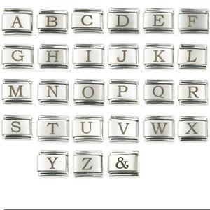 Buchstaben Modul Silberfarbig - Schwarz A bis Z passend für Nomination NEU