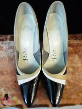 50s 60s Black Patent Heels w/White & Tan Accents 7.5 Us shoe sz by Palter Debs