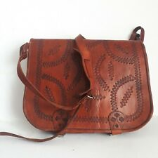 vintage Laptop Large Satchel Messenger Documents Tooled leather bag