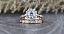 Bridal Ring Set 14k Rose Gold Gp 6.5 mm Round Moissanite Wedding Scalloped Band