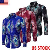 US Fashion Mens Luxury Stylish Casual Dress Shirts Long Sleeve Slim Fit T-Shirts