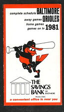 Baltimore Orioles--1981 Pocket Schedule--Savings Bank of Baltimore