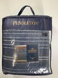 Pendelton Blue Ryer Stripe Full/Queen Quilt NEW!