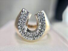 Vintage 10k Yellow Gold Round Single Cut Natural Diamond Horse Shoe Ring