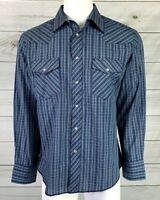 New Rustler Mens X Long Tails Pearl Snap Western Shirt Blue Size Large NWT
