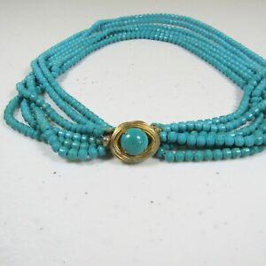 Vintage Vogue Multi-Strand Beaded Choker Necklace Teal Blue Glass Beads 6 Strand