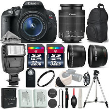 Canon EOS Rebel T5i SLR Camera 700D + 18-55mm IS-3 Lens Kit + Flash+ 64GB &MORE