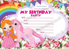 GIRLS PARTY UNICORN INVITATIONS CARDS BIRTHDAY INVITES THICK CARDS X 8 + ENVELOP