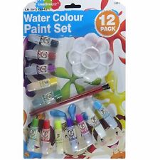 12 PACK ASSORTED WATER COLOUR PAINT SET WITH BRUSHES BRUSH FOR KIDS OVER 3 YEARS