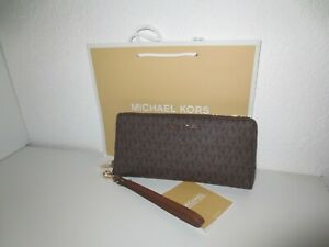 Michael Kors MK Geldbörse Portemonnaie TRAVEL LG Brown Geldbeutel Brieftasche