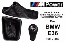 BMW E36 M POWER 5 SPEED GEAR STICK + HANDBRAKE + SHIFT KNOB GAITER BOOT LEATHER