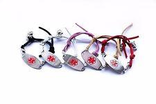 Children Woman Medical Alert Bracelet ID 4 Colors Charm FREE Engraving wristband