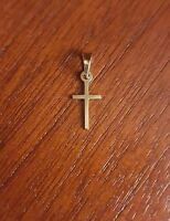 14K YELLOW GOLD SMALL PLAIN POLISHED LATIN CROSS CHARM  PENDANT  0.67 INCH