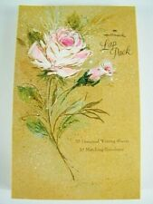 Vintage Hallmark Lap Pack ROSE Stationery Envelope Set in Original Folder NEW