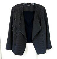 black LANE BRYANT jacket blazer polka dot open modern career woman plus 26 26W