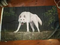 White wolf poster bar MAN CAVE  flag pool room flag wallhanging  garage flag usa