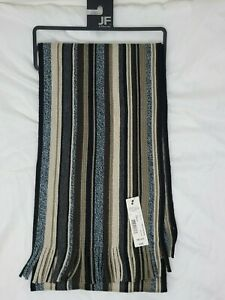 NWT Men's JF J Ferrar Knit Scarf Fringe Ends Multi Color Striped MSRP $36