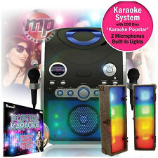 Entertainer CDG Karaoke Machine with Bluetooth & 2 Microphones + Retro Light Box