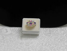 MULTI-COLOR CLUSTER CZ'S COCKTAIL STERLING SILVER RING - SIZE 8