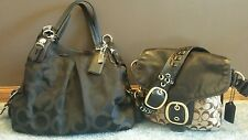 Lot of 2 coach purses black Madison Op Art maggie 15756 &  sig bleecker 11434
