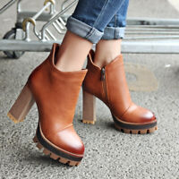 Fashion Womens Round Toe Retro Zip Block Chunky Heels Oxfords Ankle Boots Shoes