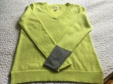 White Stuff 100% cashmere v neck jumper. 10 (12) Citrus/grey Excellent condition