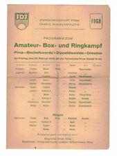 Programm Amateur Box-und Ringkampf FDJ FDGB 1949 Pirna !