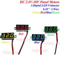 Mini DC 2.4-30V Digital LED Panel Voltmeter Voltage Meter 5V 12V 24V Car Battery