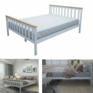 4FT6 Double Bed Frame Pine Bar Wooden Slats Headboard Bedroom Furniture Bedroom