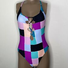 Medium Red Carter Lattice Colorblock Cut Out Lace Up Swimsuit Purple/Pink/Multi