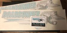Roadrunner Travel Trailer Decal Black, Aqua& White 1960's Vintage Style set of 3