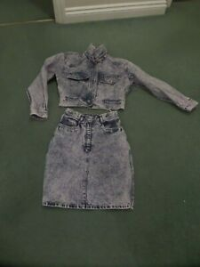 Original vintage 1980's lilac stone wash jacket and skirt