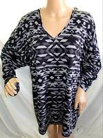 French Laundry Women Plus 2x 3x Hi Lo Aztec Black Gray Tunic Top Blouse Shirt