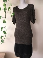 LIU JO Black & Gold Lurex Dress Bodycon Fitted Knit Raglan Size 10